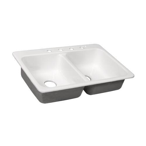 4 hole double bowl kitchen sink