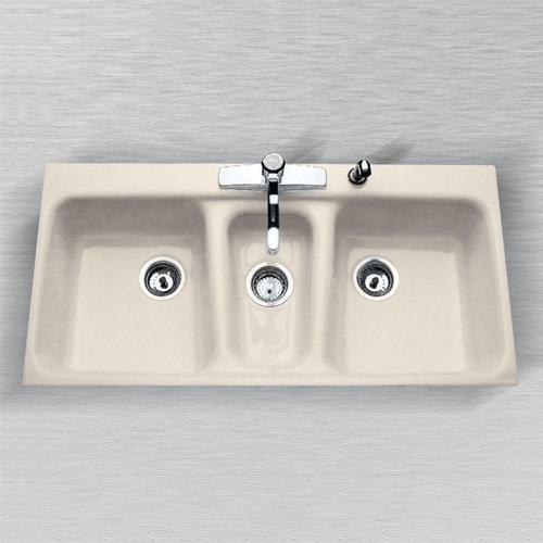 triple kitchen sink island seats 6 ceco windansea undermount 42 cast iron bowl at