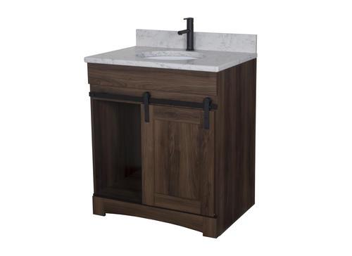 Dakota 30 W X 21 3 4 D Sliding Barn Door Bathroom Vanity Cabinet At Menards
