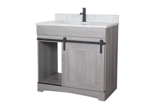 Dakota 36 W X 21 3 4 D Sliding Barn Door Bathroom Vanity Cabinet At Menards