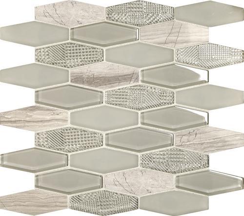 13 hexagon glass and stone mosaic tile