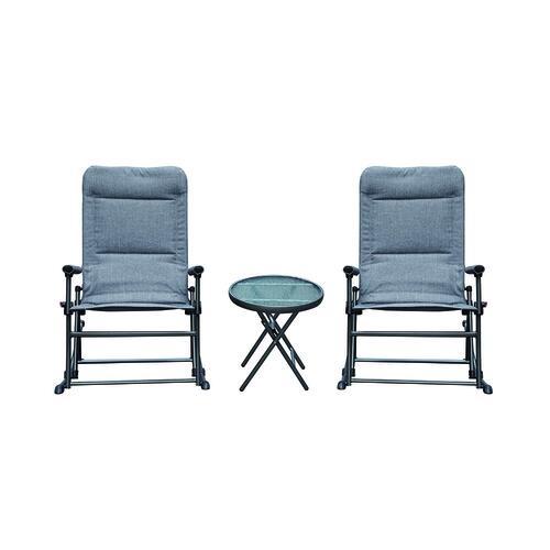 folding gray 3 piece seating patio set