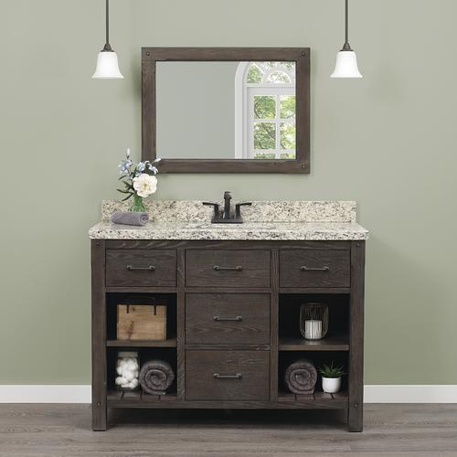 Foremost Roberson 48 W X 21 1 2 D Dark Oak Bathroom Vanity Cabinet At Menards