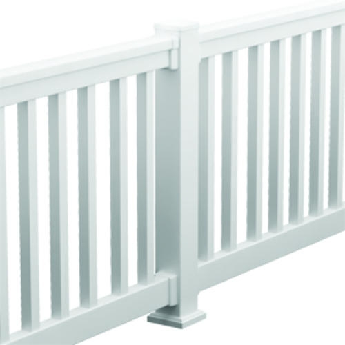 Fypon® Quickrail® Premium Synthetic Rail Kit Square Spindles At | Grey Banister White Spindles | Silver | Indoor | Pewter | Gloss | Wrought Iron