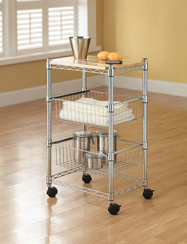 wire kitchen cart faucet supply lines whalen 20 w x 34 h 14 d chrome with baskets at menards