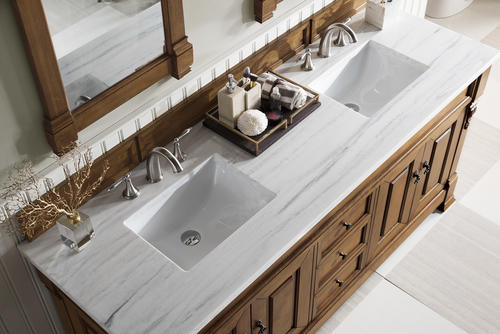 Brookfield 72 Country Oak Double Vanity With 3 Cm Arctic Fall Solid Surface Top At Menards