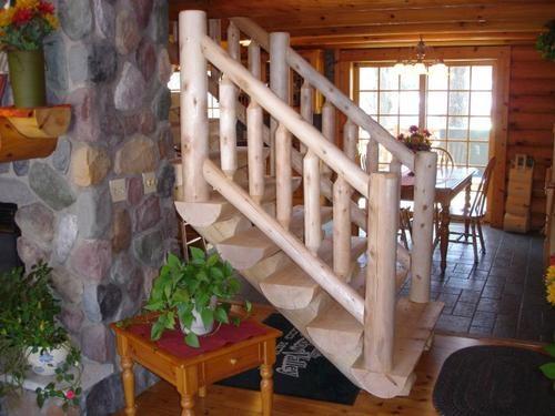 Meadow Valley 14 White Cedar Rustic Hewn Log Stair Railing At   Rustic Stairs And Railings   Handrail   Custom   Design   Cabin   Interior