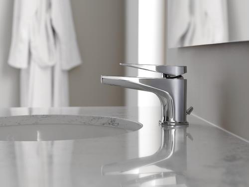 one handle low profile chrome bathroom