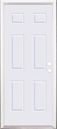 Mastercraft® Smooth White Fiberglass 6-Panel Exterior Door