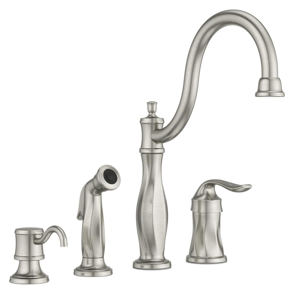 one handle stainless kitchen faucet at