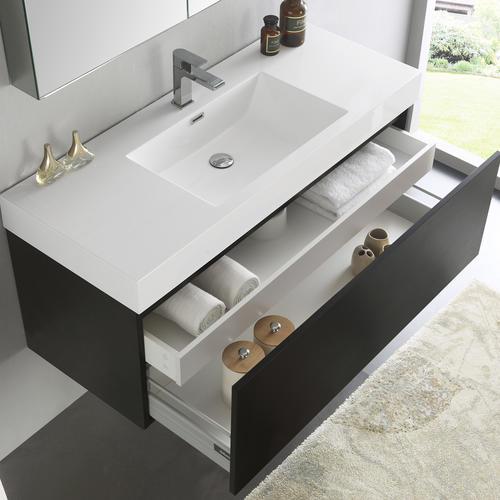 Fresca Mezzo 48 Black Wall Hung Modern Bathroom Vanity With Medicine Cabinet At Menards