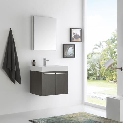 Fresca Alto 23 Gray Oak Wall Hung Modern Bathroom Vanity With Medicine Cabinet At Menards