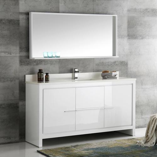 "Fresca Allier 60"" White Modern Single Sink Bathroom Vanity ..."