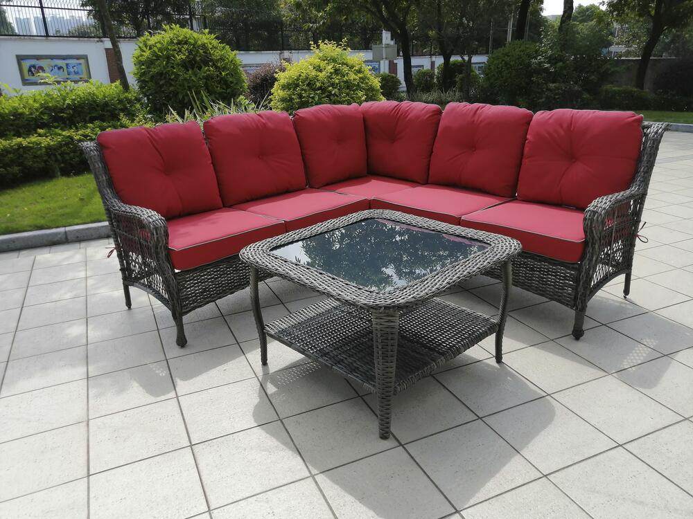 canton red sectional seating patio set