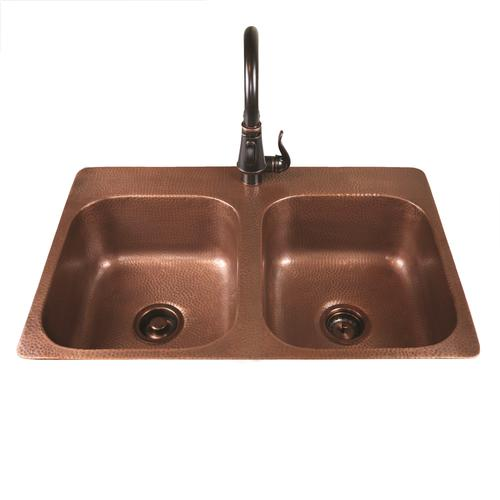 menards kitchen sink table with bench set sinkology riley top mount 33 copper 1 hole double bowl at