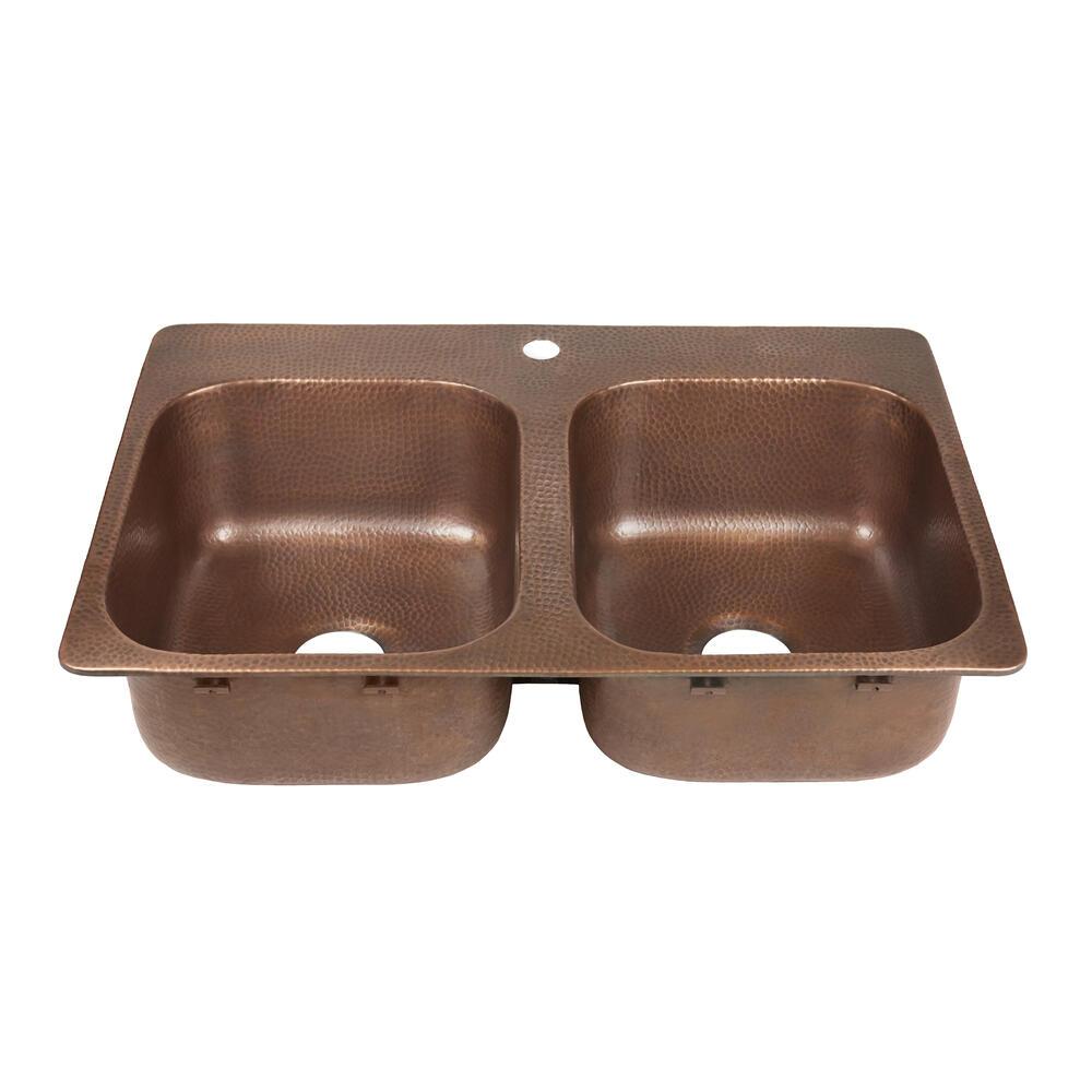 hole double bowl copper kitchen sink