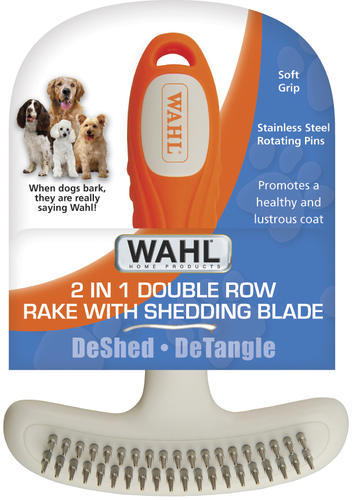 WAHL® 2 in 1 Double Row Rake with Shedding Blade