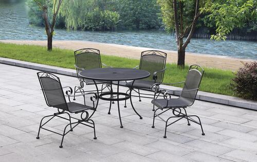 wrought iron black 5 piece dining patio
