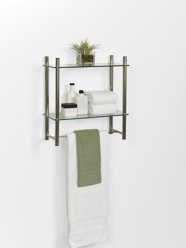 Zenna Home 20 Brushed Nickel Glass Bathroom Shelf At Menards