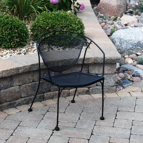 menards patio chairs camping on sale backyard creations wrought iron barrel chair at