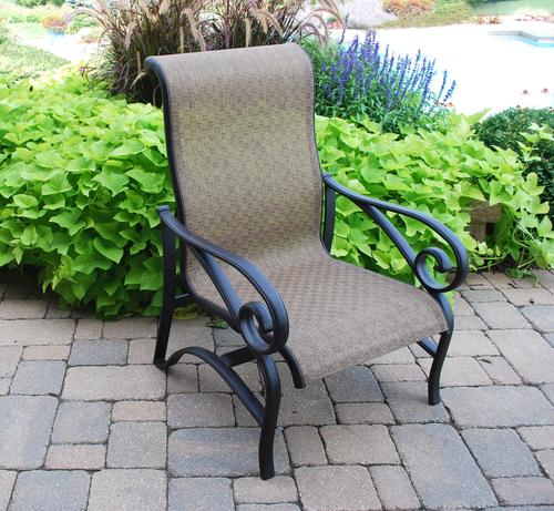 menards patio chairs mickey mouse chair covers backyard creations sling chat at