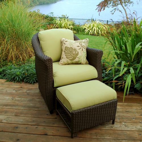 outdoor chair and ottoman directors camping sterling home patio etta woven with hidden in green at menards
