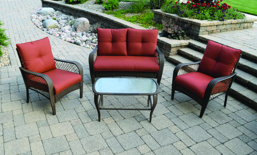 menards patio chairs chair covers to protect from cats backyard creations orchard valley 4 piece deep seating set at furniture collections