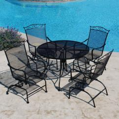 Menards Patio Chairs Best Chair After Lower Back Surgery Backyard Creations Wrought Iron 5 Piece Dining Set At