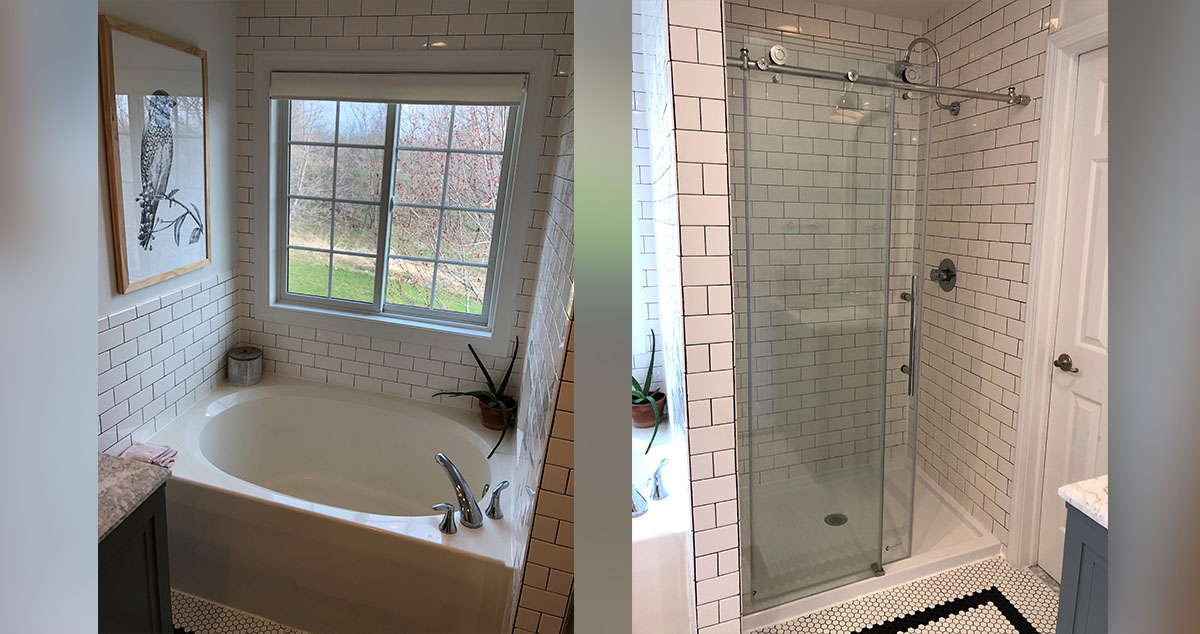 subway tile bathroom remodel project