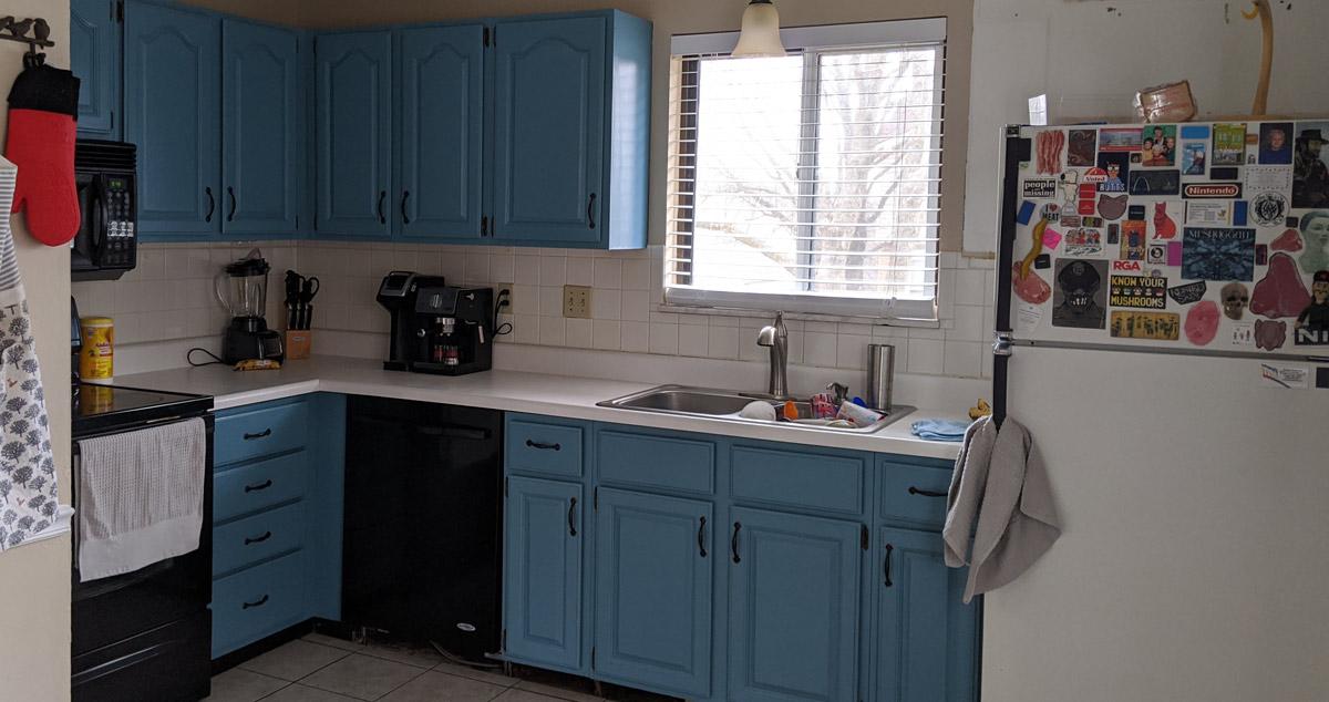 blue to black kitchen cabinets