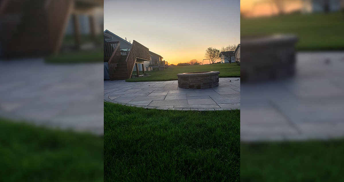 circular patio with fire pit project