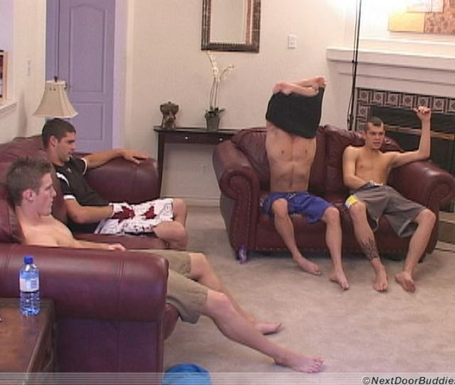 Guy Jerking Off His Dick With Friends For The Camera