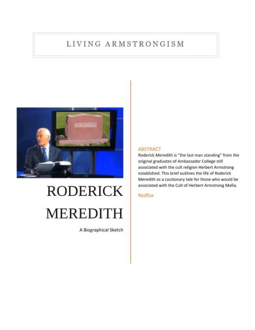 Roderick Meredith a Biographical Sketch