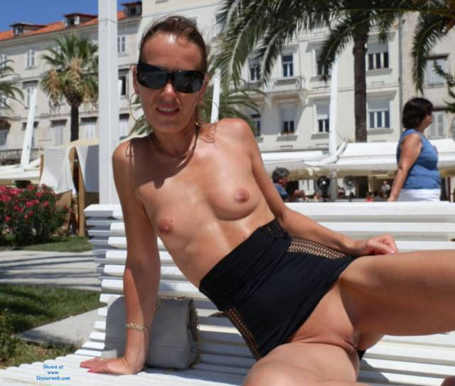 Flashing Nude At The Park Erect Nipples Exposed In Public Firm Tits