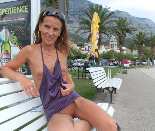 Sexy Mature Sitting Nude In Public Brunette Hair Exposed In Public Flashing Tits