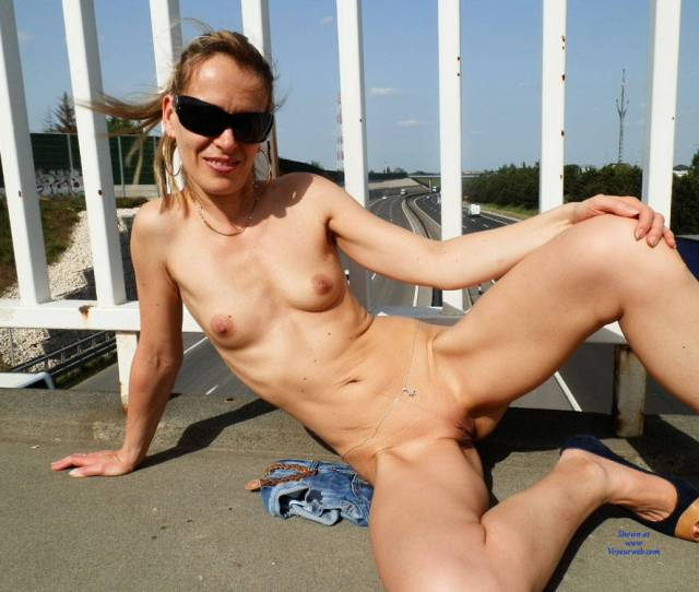 Exciting Sky Walk Nudity Blonde Hair Exposed In Public Firm Tits Flashing