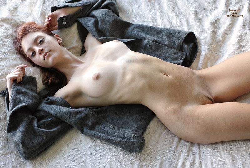 Slim Nude Redhead Lying On Back  October 2008  Voyeur
