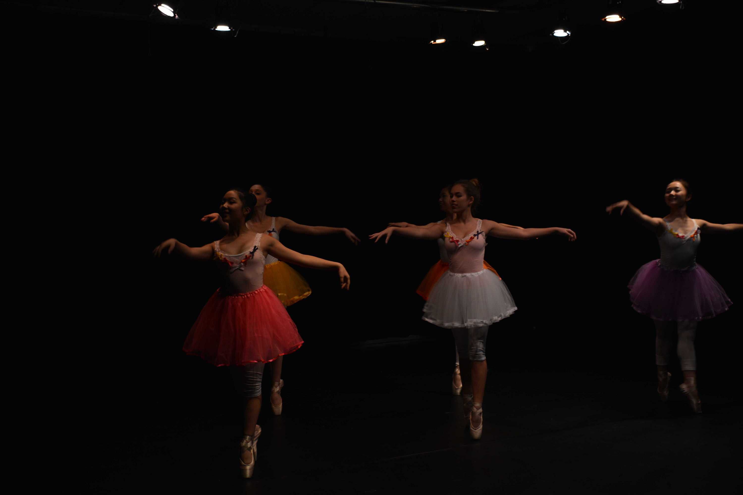 Dancers Emory Kim '18 and Anneliese Breidsprecher '18 perform for the Arc Foundation during their performance. Credit: Ellis Becker/Chronicle