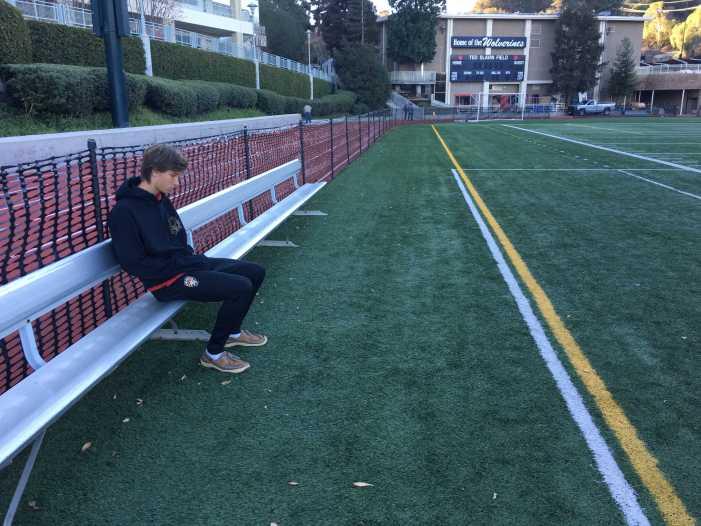 Jonty Nobbs '18 is stuck on the sidelines
