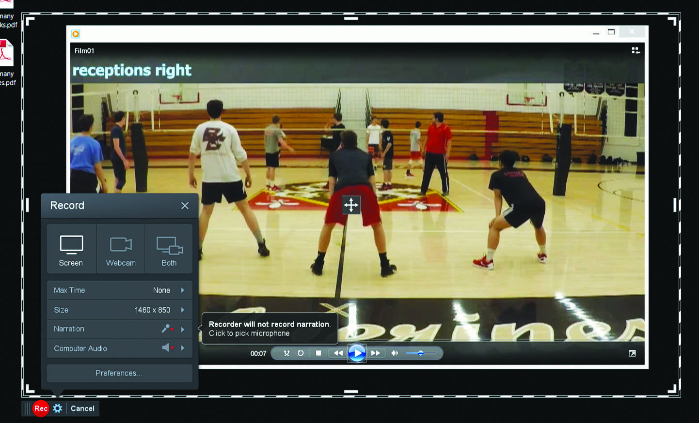 "The boys' volleyball team uses software called ""Screencast-o-matic"" to review and analyze film. Printed with permission of Ryan Casey"