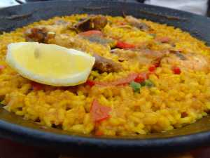 Paella, a food of moorish origin, is popular in Spain. Printed with permission of Alison Oh.