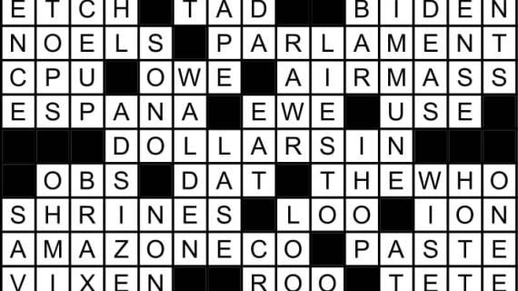 January 2019 Crossword Answers