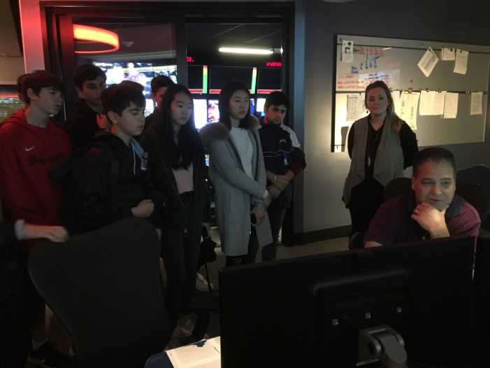 Broadcast journalism class visits Fox Sports Studios