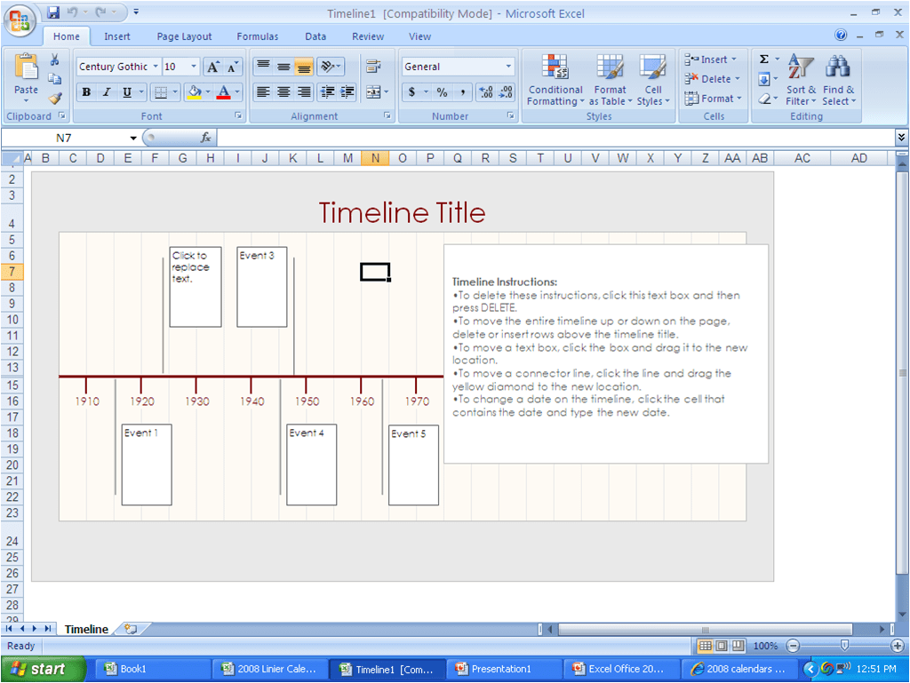 Microsoft excel 2007 project timeline template how to for Microsoft office portfolio template