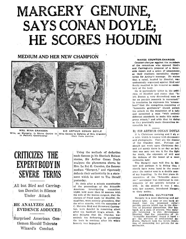 The battle between Doyle and Houdini spilled over into the newspapers as the committee closed in on the Margery case.