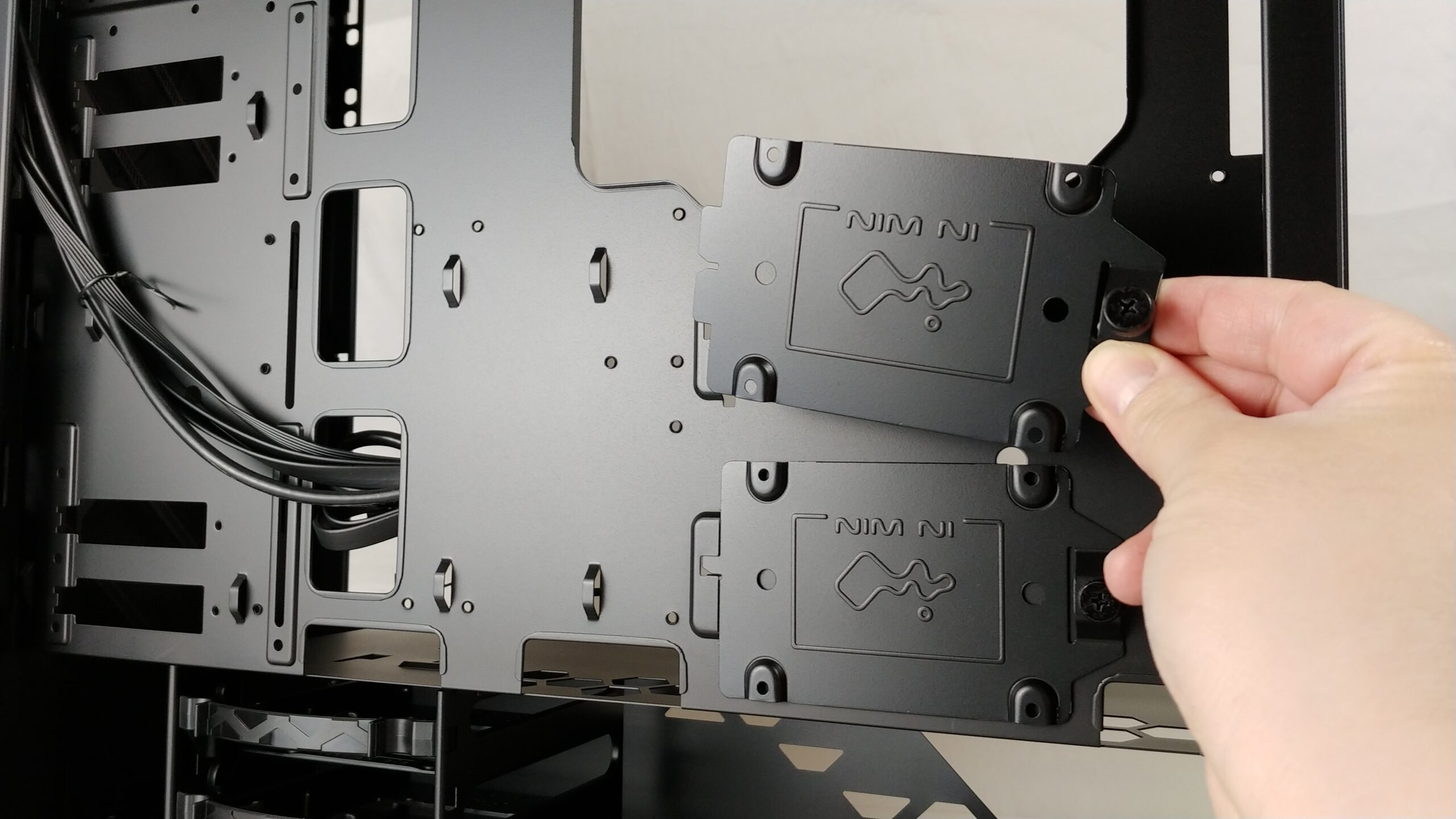 Removing the 2.5-inch drive mount in the InWin 216.