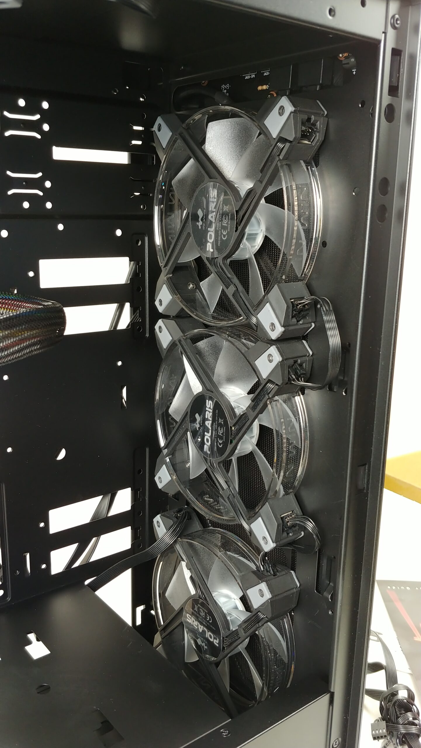 Inside view of the fans mounted to the front in the InWin 216.