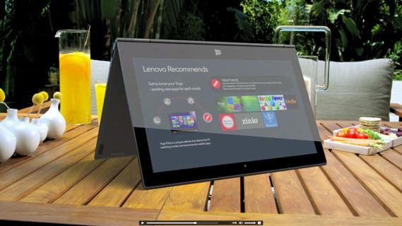 Dünyanın ilk 360° döndürülebilir dizüstü bilgisayarı olan Lenovo Yoga