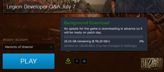 world of warcraft legon download ekranı