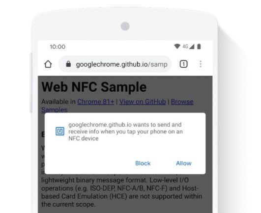 Google Chrome 81 NFC